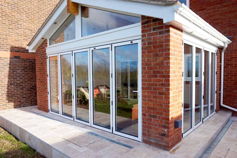 bi-fold doors with gable end